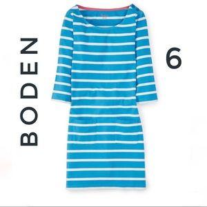 Boden Striped Breton Knit 3/4 sleeve Tunic Dress